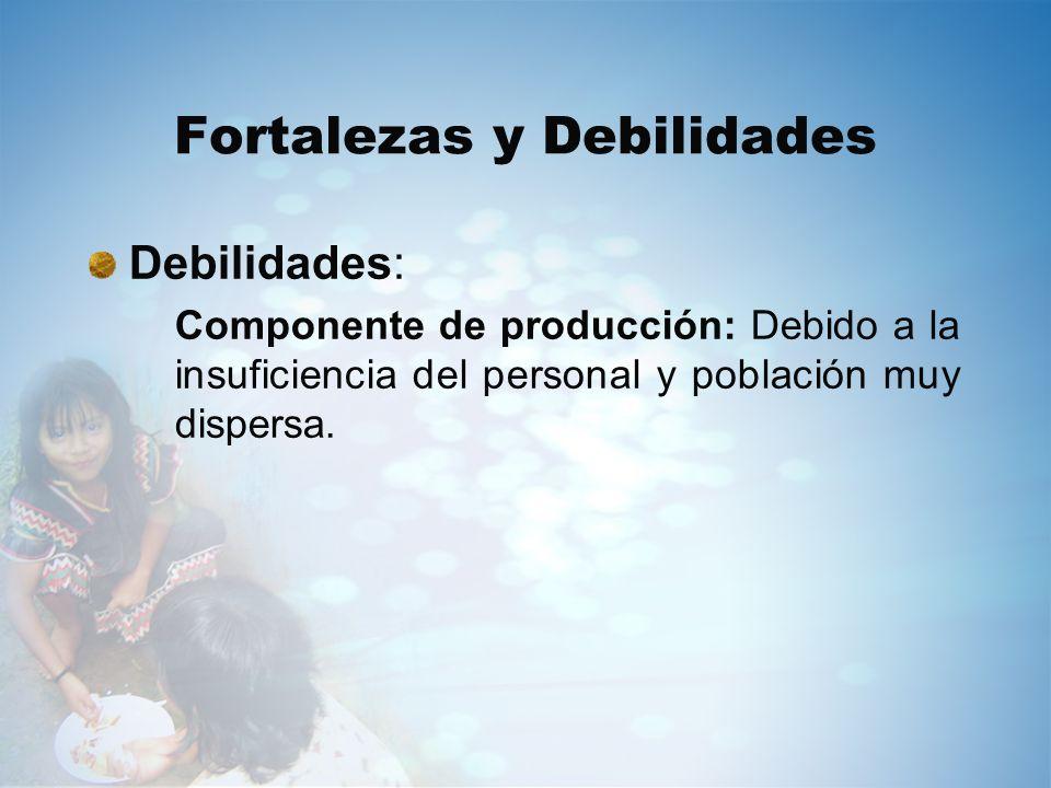 Fortalezas y Debilidades Debilidades: Componente de producción: Debido a la insuficiencia del personal y población muy dispersa.