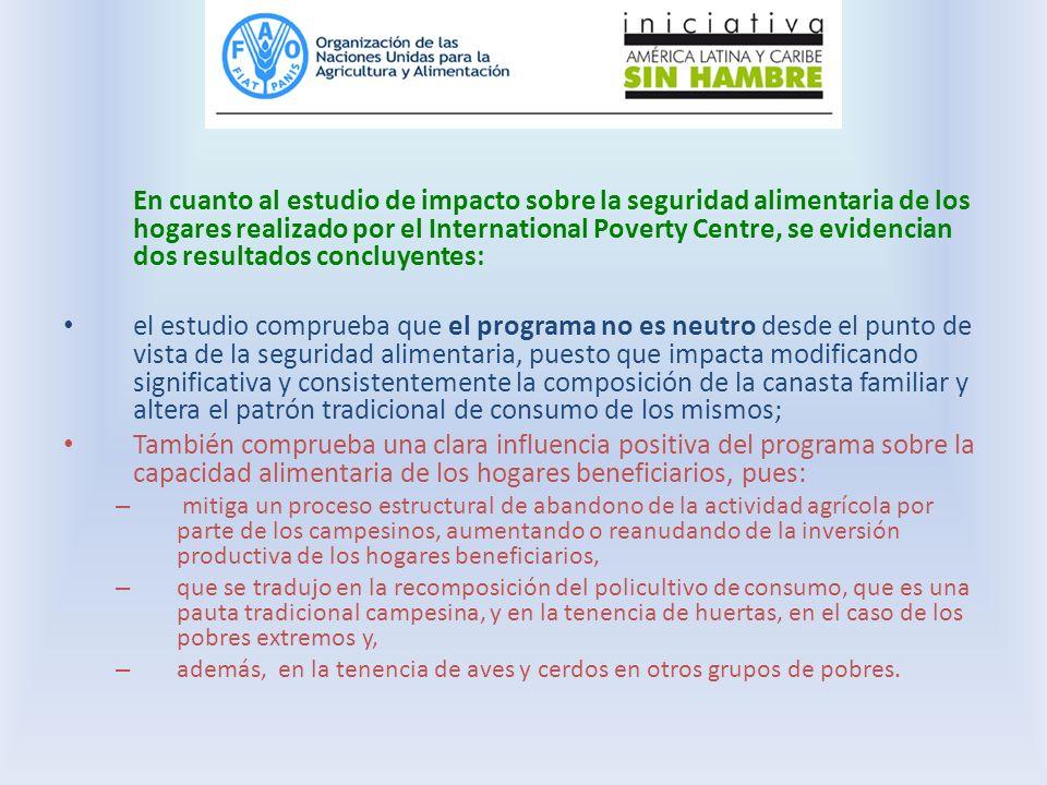 En cuanto al estudio de impacto sobre la seguridad alimentaria de los hogares realizado por el International Poverty Centre, se evidencian dos resulta