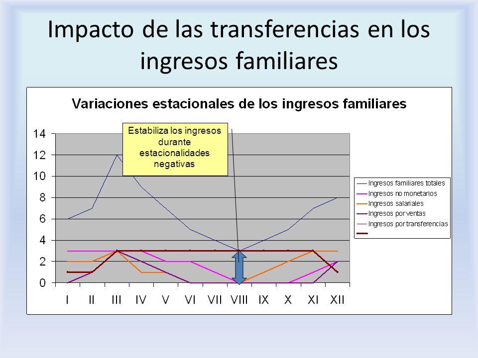 Impacto de las transferencias en los ingresos familiares Estabiliza los ingresos durante estacionalidades negativas