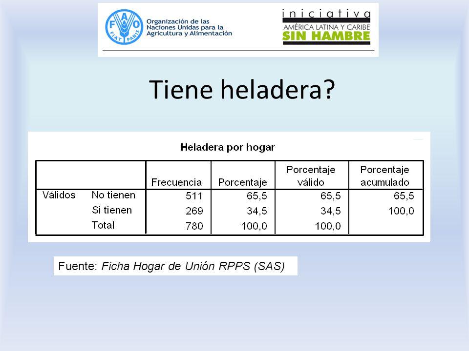 Tiene heladera? Fuente: Ficha Hogar de Unión RPPS (SAS)