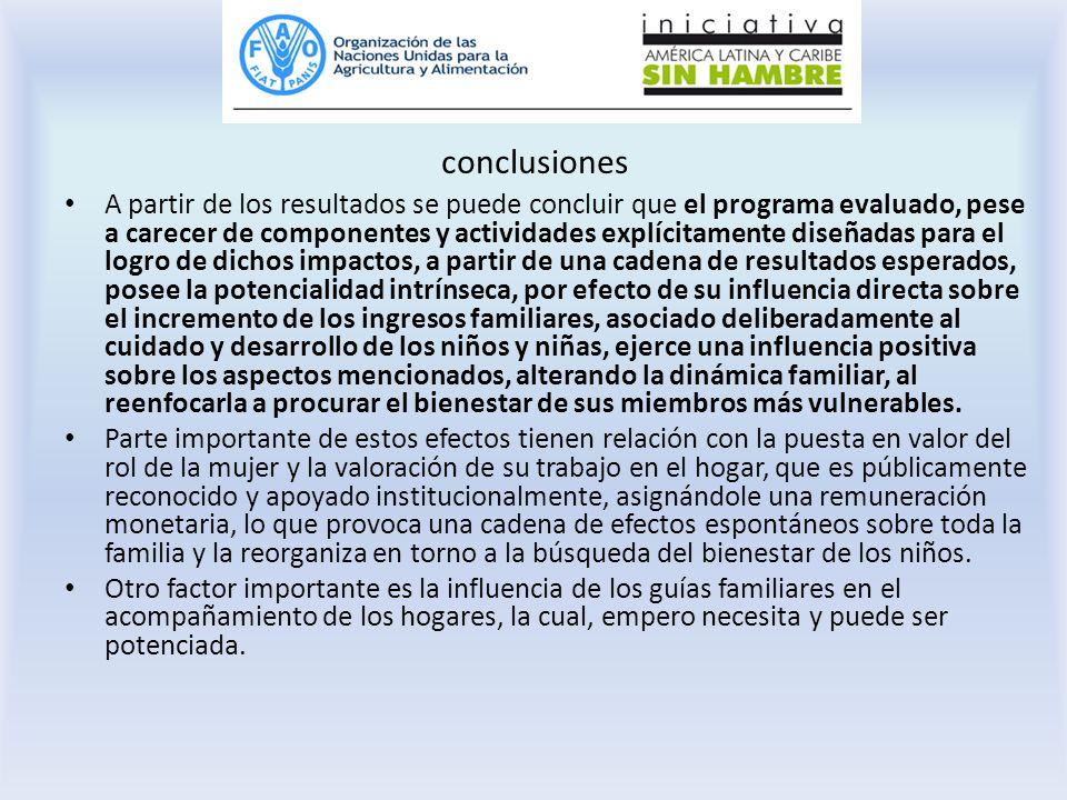conclusiones A partir de los resultados se puede concluir que el programa evaluado, pese a carecer de componentes y actividades explícitamente diseñad