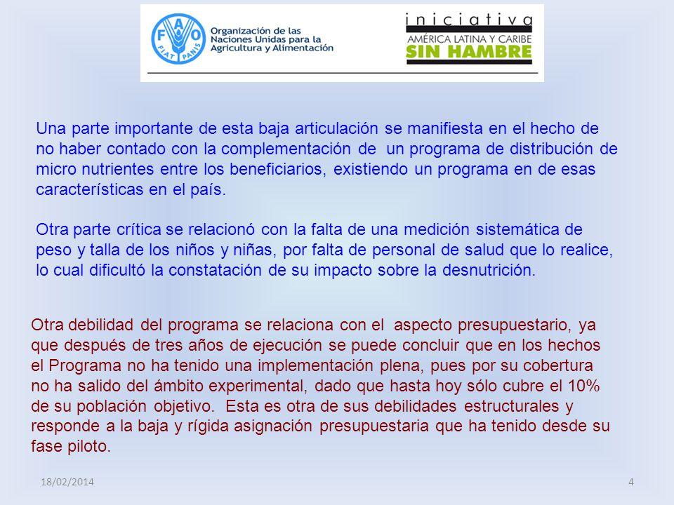 18/02/20144 Otra debilidad del programa se relaciona con el aspecto presupuestario, ya que después de tres años de ejecución se puede concluir que en