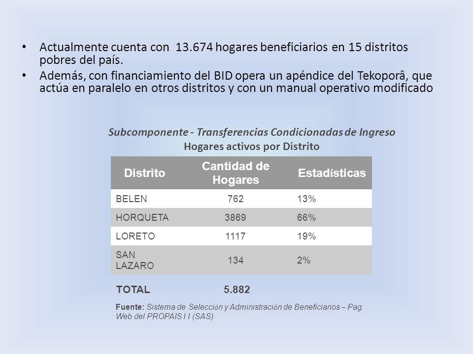 Actualmente cuenta con 13.674 hogares beneficiarios en 15 distritos pobres del país. Además, con financiamiento del BID opera un apéndice del Tekoporâ