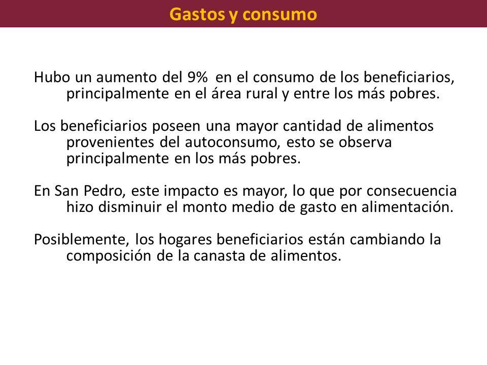 Gastos y consumo Hubo un aumento del 9% en el consumo de los beneficiarios, principalmente en el área rural y entre los más pobres. Los beneficiarios