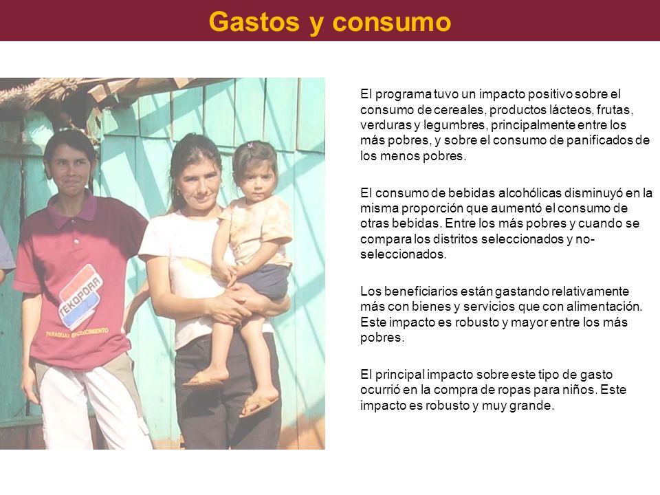Gastos y consumo El programa tuvo un impacto positivo sobre el consumo de cereales, productos lácteos, frutas, verduras y legumbres, principalmente en