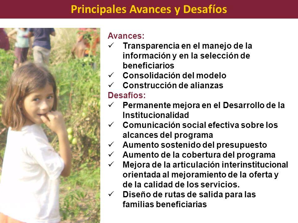 Avances: Transparencia en el manejo de la información y en la selección de beneficiarios Consolidación del modelo Construcción de alianzas Desafíos: P