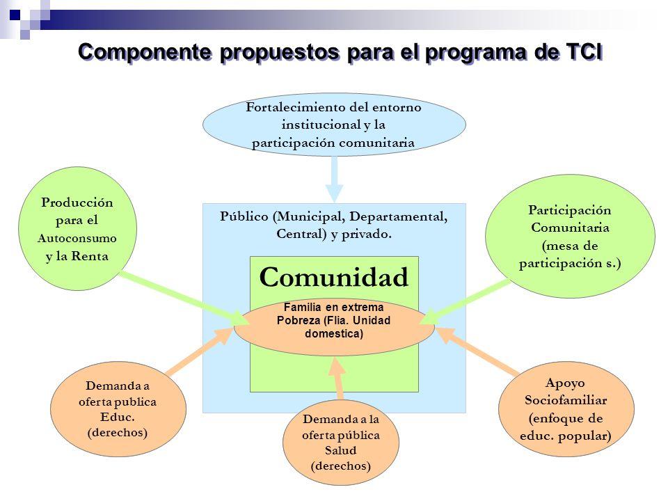 Componente propuestos para el programa de TCI Fortalecimiento del entorno institucional y la participación comunitaria Público (Municipal, Departament