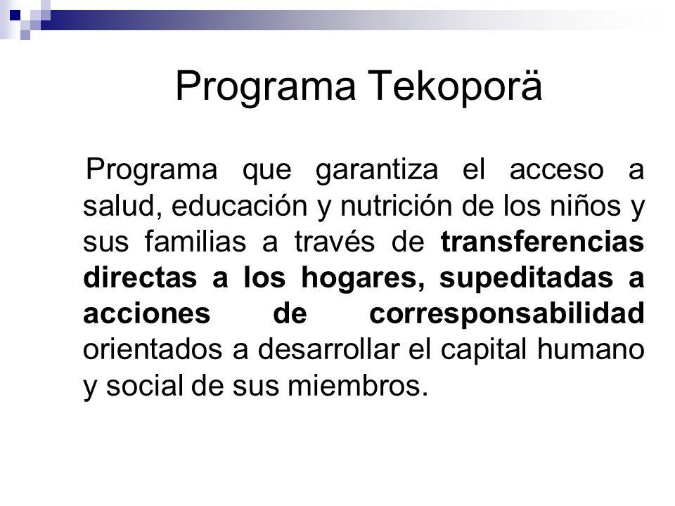 Programa Tekoporä Programa que garantiza el acceso a salud, educación y nutrición de los niños y sus familias a través de transferencias directas a lo