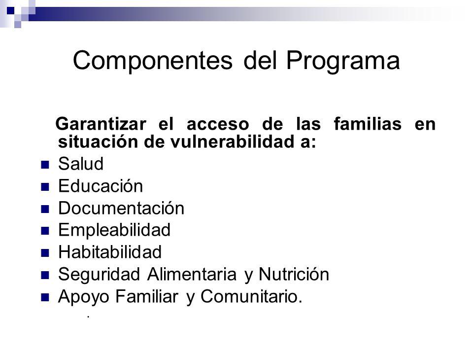 Componentes del Programa Garantizar el acceso de las familias en situación de vulnerabilidad a: Salud Educación Documentación Empleabilidad Habitabili