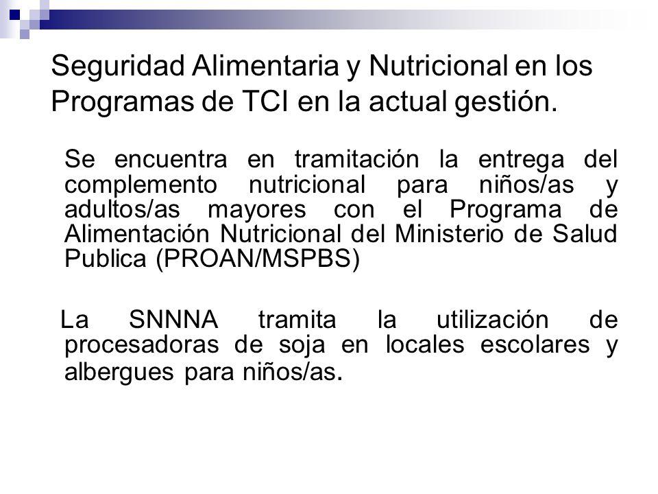 Seguridad Alimentaria y Nutricional en los Programas de TCI en la actual gestión. Se encuentra en tramitación la entrega del complemento nutricional p