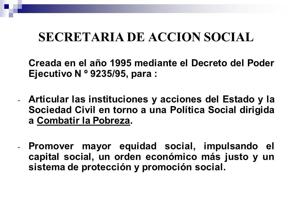 SECRETARIA DE ACCION SOCIAL Creada en el año 1995 mediante el Decreto del Poder Ejecutivo N º 9235/95, para : - Articular las instituciones y acciones