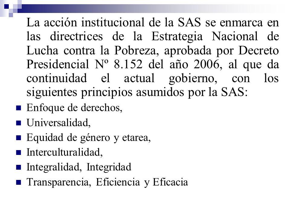 La acción institucional de la SAS se enmarca en las directrices de la Estrategia Nacional de Lucha contra la Pobreza, aprobada por Decreto Presidencia