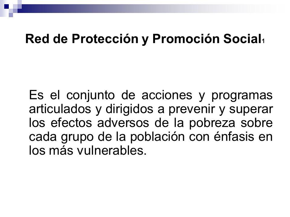 Red de Protección y Promoción Social 1 Es el conjunto de acciones y programas articulados y dirigidos a prevenir y superar los efectos adversos de la