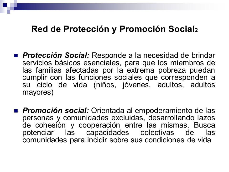 Red de Protección y Promoción Social 2 Protección Social: Responde a la necesidad de brindar servicios básicos esenciales, para que los miembros de la