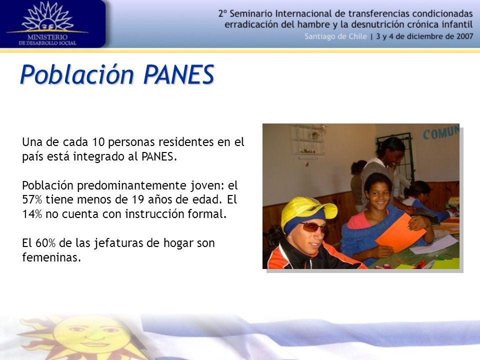 Población PANES Una de cada 10 personas residentes en el país está integrado al PANES. Población predominantemente joven: el 57% tiene menos de 19 año