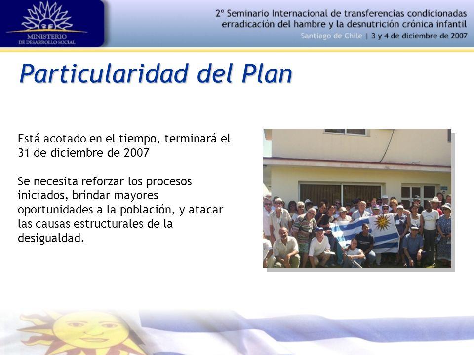 Particularidad del Plan Está acotado en el tiempo, terminará el 31 de diciembre de 2007 Se necesita reforzar los procesos iniciados, brindar mayores oportunidades a la población, y atacar las causas estructurales de la desigualdad.