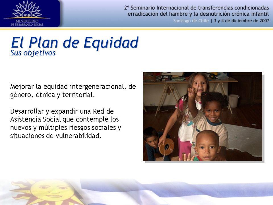 El Plan de Equidad Mejorar la equidad intergeneracional, de género, étnica y territorial. Desarrollar y expandir una Red de Asistencia Social que cont