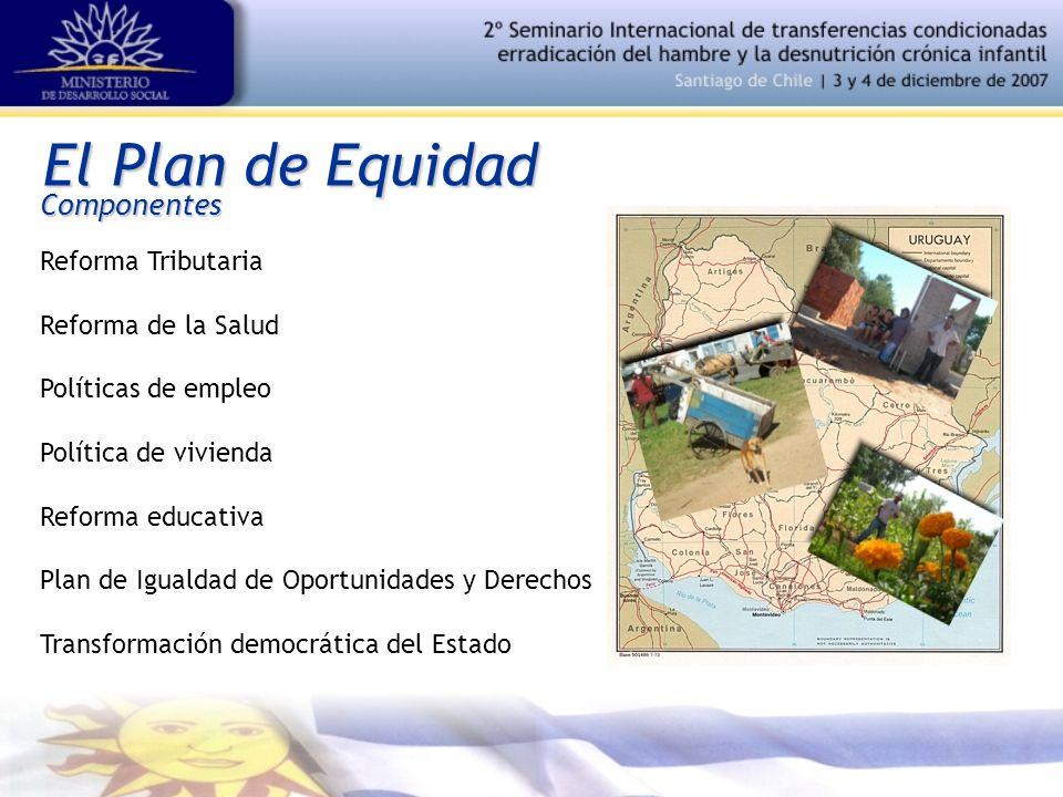 El Plan de Equidad Componentes Reforma Tributaria Reforma de la Salud Políticas de empleo Política de vivienda Reforma educativa Plan de Igualdad de O
