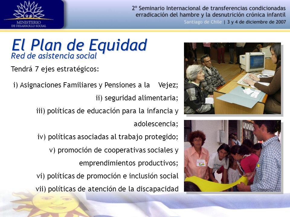 El Plan de Equidad Red de asistencia social Tendrá 7 ejes estratégicos: i) Asignaciones Familiares y Pensiones a la Vejez; ii) seguridad alimentaria;