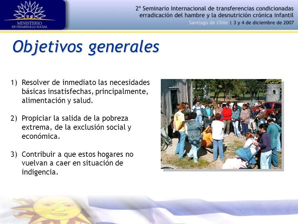 Objetivos generales 1)Resolver de inmediato las necesidades básicas insatisfechas, principalmente, alimentación y salud.