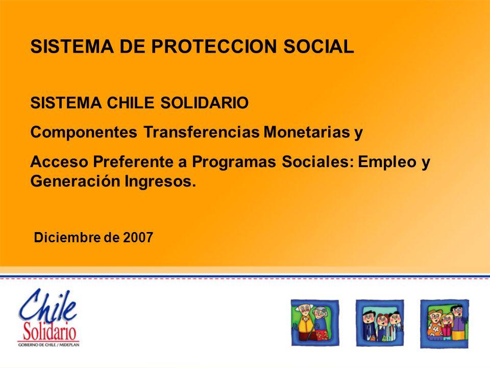 SISTEMA DE PROTECCION SOCIAL SISTEMA CHILE SOLIDARIO Componentes Transferencias Monetarias y Acceso Preferente a Programas Sociales: Empleo y Generaci