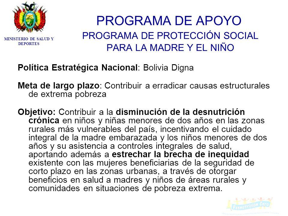 PROGRAMA DE APOYO PROGRAMA DE PROTECCIÓN SOCIAL PARA LA MADRE Y EL NIÑO Política Estratégica Nacional: Bolivia Digna Meta de largo plazo: Contribuir a