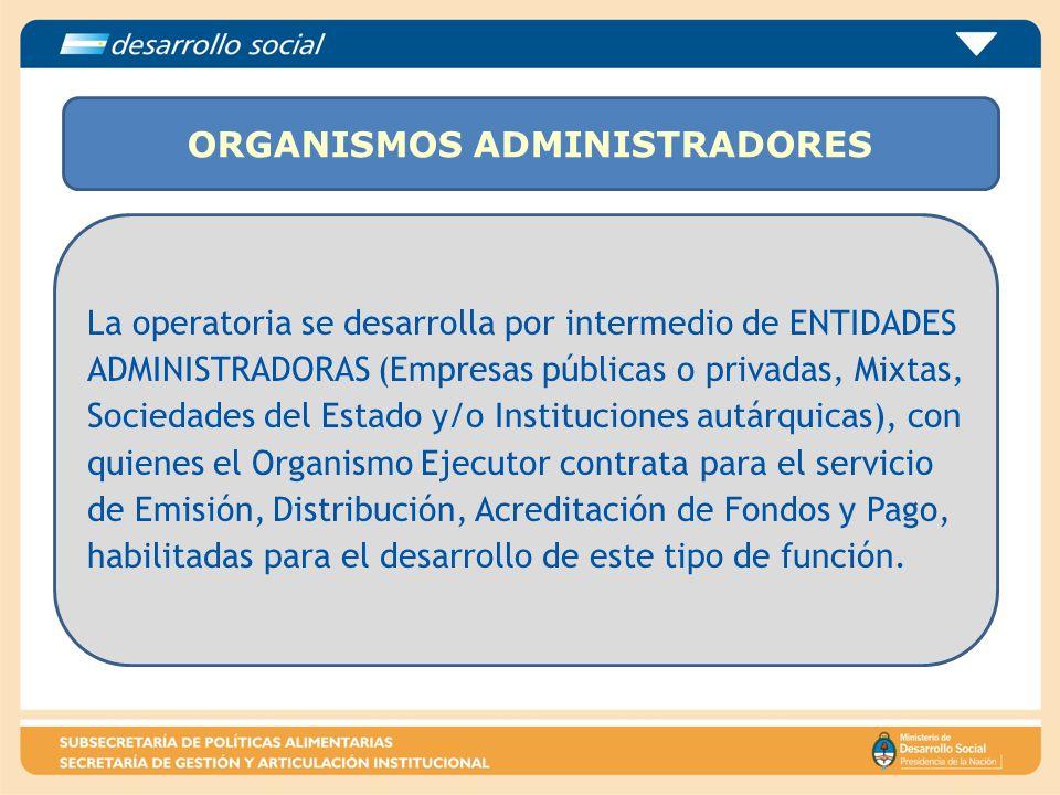 ORGANISMOS ADMINISTRADORES La operatoria se desarrolla por intermedio de ENTIDADES ADMINISTRADORAS (Empresas públicas o privadas, Mixtas, Sociedades d
