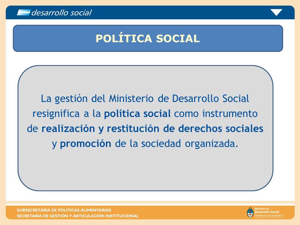 POLÍTICA SOCIAL La gestión del Ministerio de Desarrollo Social resignifica a la política social como instrumento de realización y restitución de derec