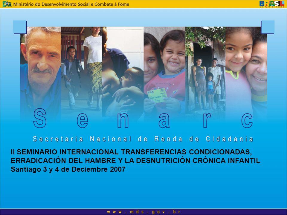 II SEMINARIO INTERNACIONAL TRANSFERENCIAS CONDICIONADAS, ERRADICACIÓN DEL HAMBRE Y LA DESNUTRICIÓN CRÓNICA INFANTIL Santiago 3 y 4 de Deciembre 2007