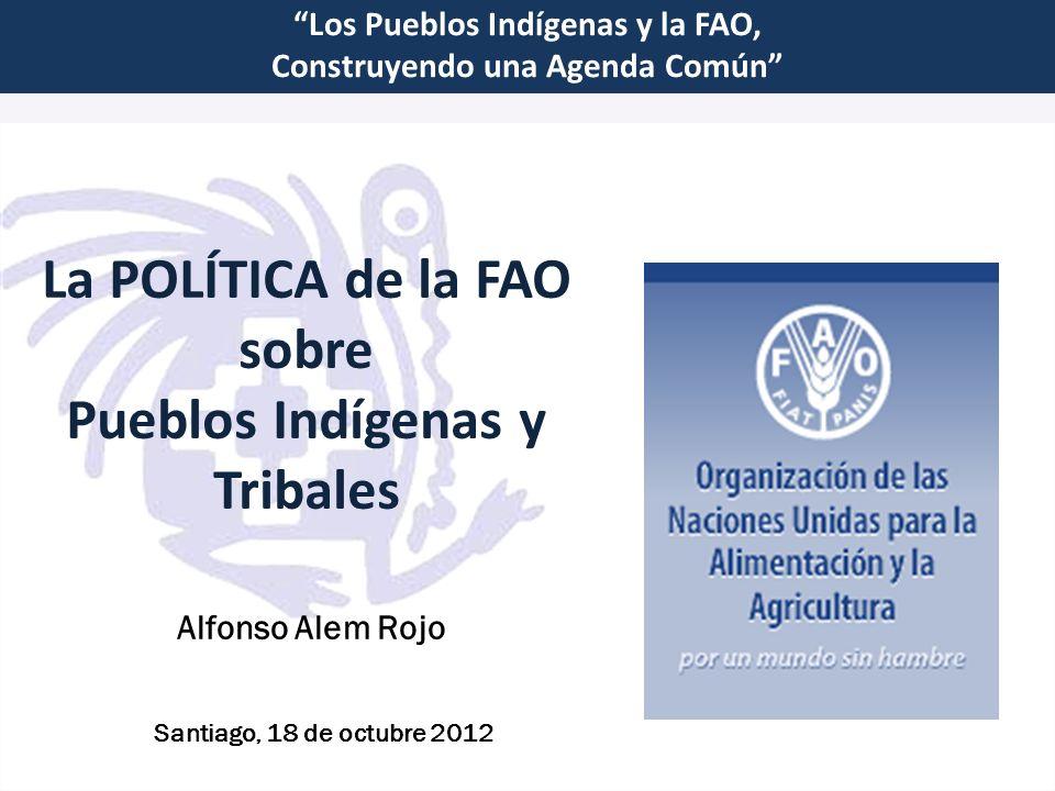 La POLÍTICA de la FAO sobre Pueblos Indígenas y Tribales Los Pueblos Indígenas y la FAO, Construyendo una Agenda Común Santiago, 18 de octubre 2012 Al