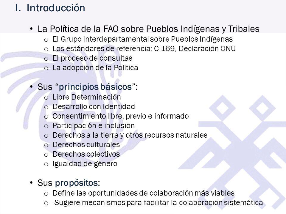 I. Introducción La Política de la FAO sobre Pueblos Indígenas y Tribales o El Grupo Interdepartamental sobre Pueblos Indígenas o Los estándares de ref