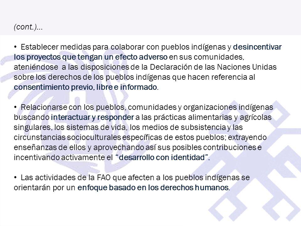 (cont.)… Establecer medidas para colaborar con pueblos indígenas y desincentivar los proyectos que tengan un efecto adverso en sus comunidades, atenié