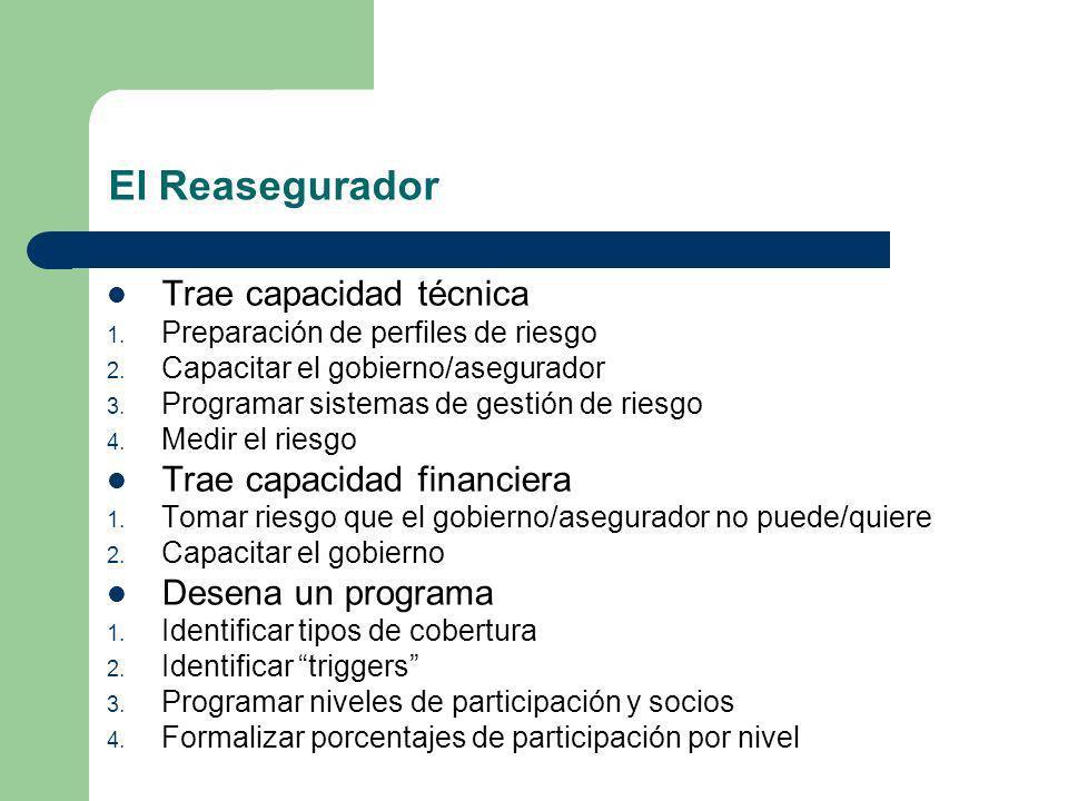 El Reasegurador Trae capacidad técnica 1. Preparación de perfiles de riesgo 2. Capacitar el gobierno/asegurador 3. Programar sistemas de gestión de ri