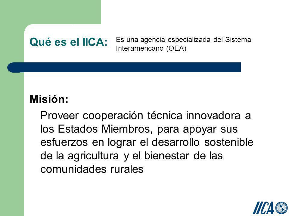 Qué es el IICA: Misión: Proveer cooperación técnica innovadora a los Estados Miembros, para apoyar sus esfuerzos en lograr el desarrollo sostenible de