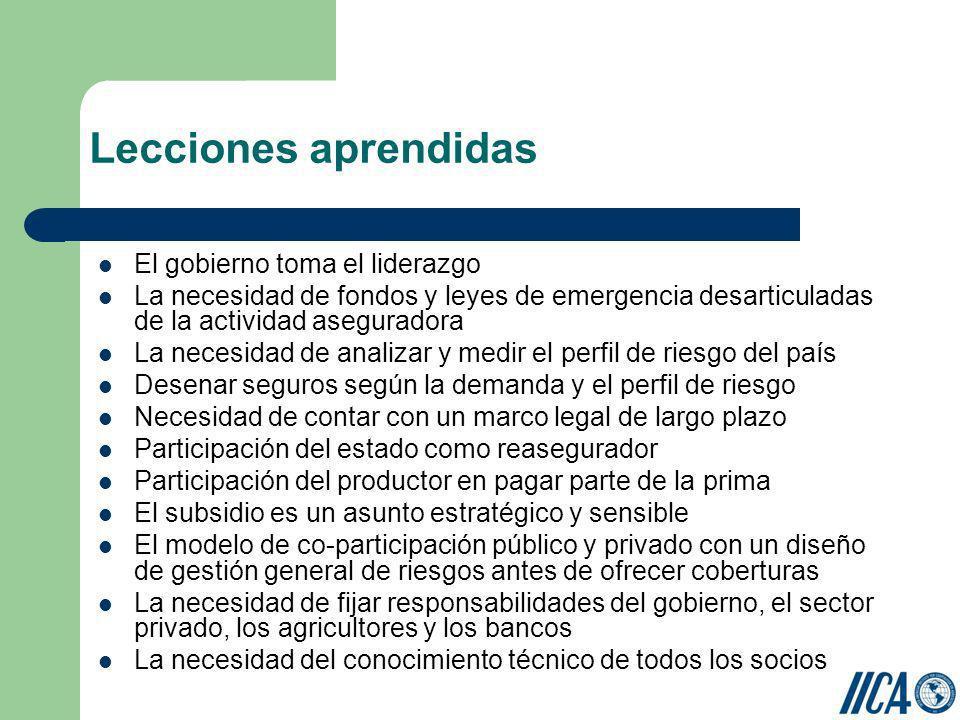 Lecciones aprendidas El gobierno toma el liderazgo La necesidad de fondos y leyes de emergencia desarticuladas de la actividad aseguradora La necesida