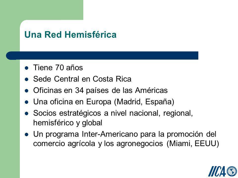Una Red Hemisférica Tiene 70 años Sede Central en Costa Rica Oficinas en 34 países de las Américas Una oficina en Europa (Madrid, España) Socios estra