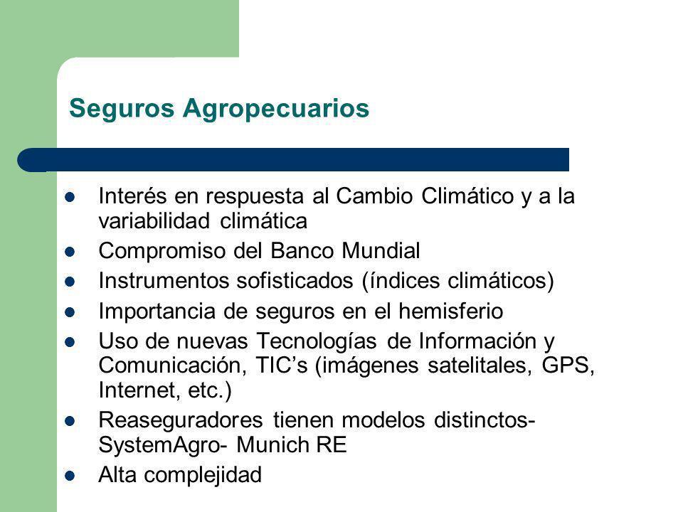 Seguros Agropecuarios Interés en respuesta al Cambio Climático y a la variabilidad climática Compromiso del Banco Mundial Instrumentos sofisticados (í