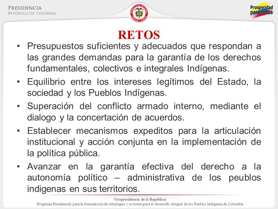 Vicepresidencia de la República Programa Presidencial para la formulación de estrategias y acciones para el desarrollo integral de los Pueblos Indígenas de Colombia RETOS Presupuestos suficientes y adecuados que respondan a las grandes demandas para la garantía de los derechos fundamentales, colectivos e integrales Indígenas.