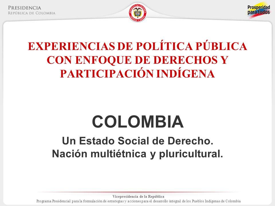 Vicepresidencia de la República Programa Presidencial para la formulación de estrategias y acciones para el desarrollo integral de los Pueblos Indígenas de Colombia Componentes y fases ARTICULACIÓN INTERINSTITUCIONAL EN TERRENO ALREDEDOR DE PLANES DE VIDA Atencion Urgente y de emergencia.