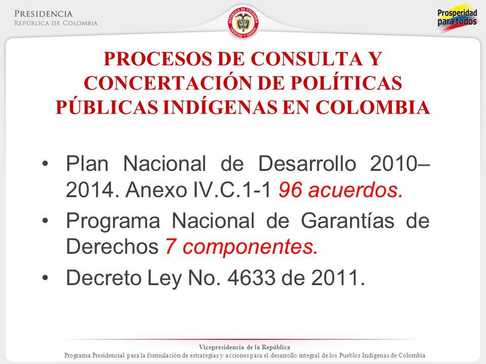 Vicepresidencia de la República Programa Presidencial para la formulación de estrategias y acciones para el desarrollo integral de los Pueblos Indígenas de Colombia PROCESOS DE CONSULTA Y CONCERTACIÓN DE POLÍTICAS PÚBLICAS INDÍGENAS EN COLOMBIA Plan Nacional de Desarrollo 2010– 2014.