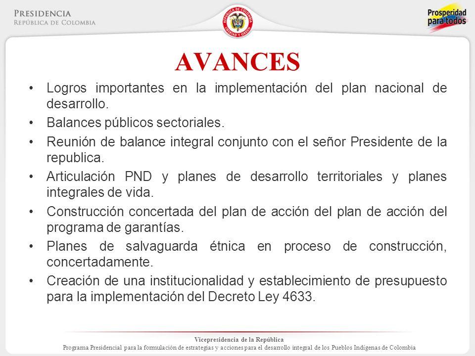 Vicepresidencia de la República Programa Presidencial para la formulación de estrategias y acciones para el desarrollo integral de los Pueblos Indígenas de Colombia AVANCES Logros importantes en la implementación del plan nacional de desarrollo.