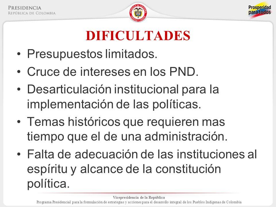 Vicepresidencia de la República Programa Presidencial para la formulación de estrategias y acciones para el desarrollo integral de los Pueblos Indígenas de Colombia DIFICULTADES Presupuestos limitados.