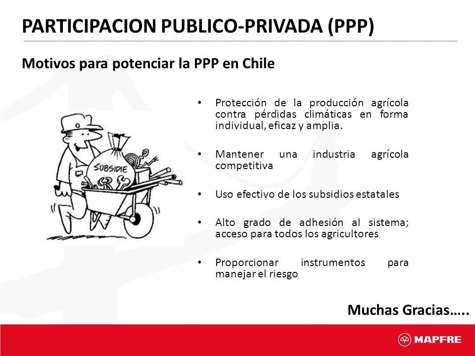 15 Motivos para potenciar la PPP en Chile Protección de la producción agrícola contra pérdidas climáticas en forma individual, eficaz y amplia. Manten