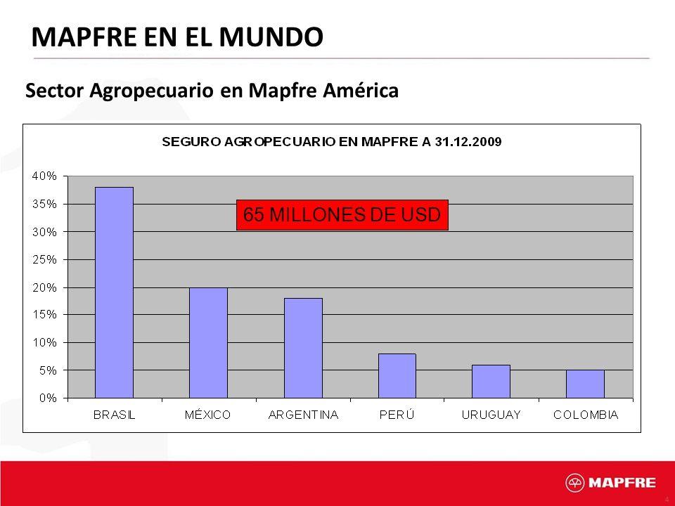 4 MAPFRE EN EL MUNDO Sector Agropecuario en Mapfre América 65 MILLONES DE USD