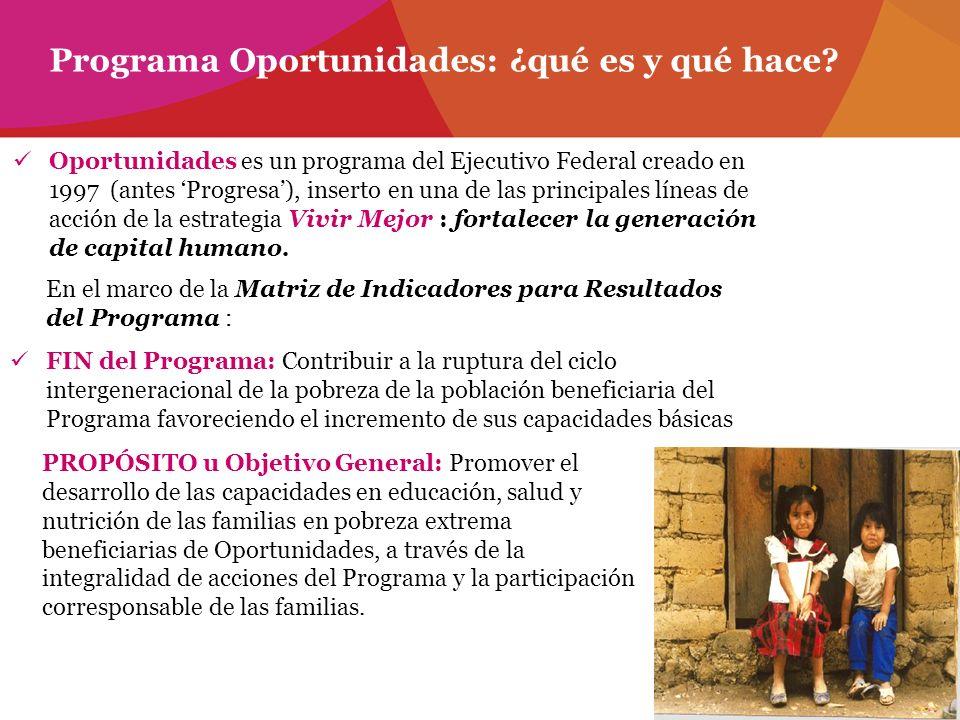 Oportunidades es un programa del Ejecutivo Federal creado en 1997 (antes Progresa), inserto en una de las principales líneas de acción de la estrategi