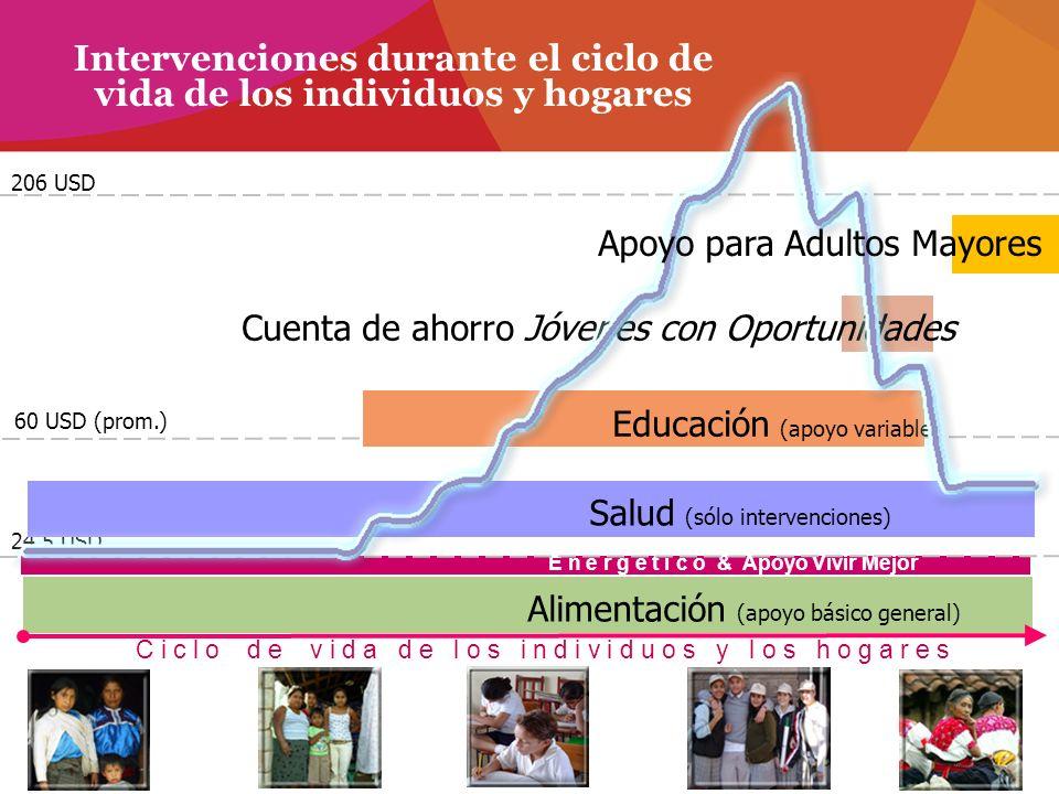 24.5 USD Intervenciones durante el ciclo de vida de los individuos y hogares Alimentación (apoyo básico general) Salud (sólo intervenciones) Educación