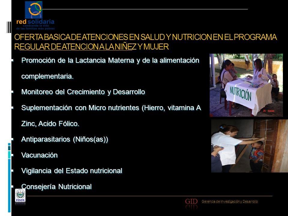 OFERTA BASICA DE ATENCIONES EN SALUD Y NUTRICION EN EL PROGRAMA REGULAR DE ATENCION A LA NIÑEZ Y MUJER Promoción de la Lactancia Materna y de la alime