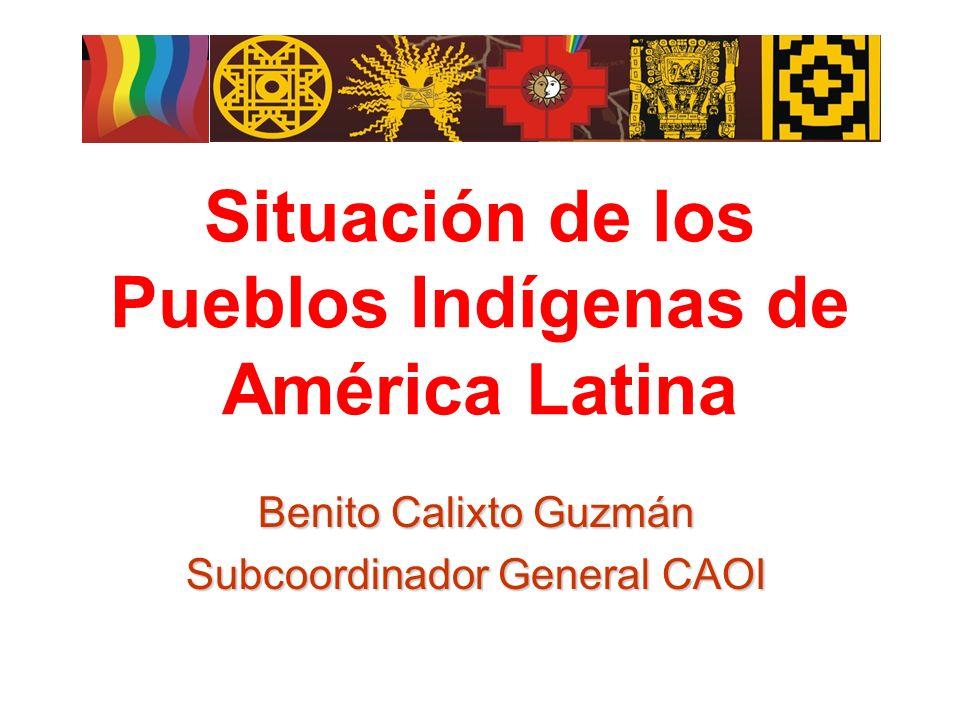 Situación de los Pueblos Indígenas de América Latina Benito Calixto Guzmán Subcoordinador General CAOI