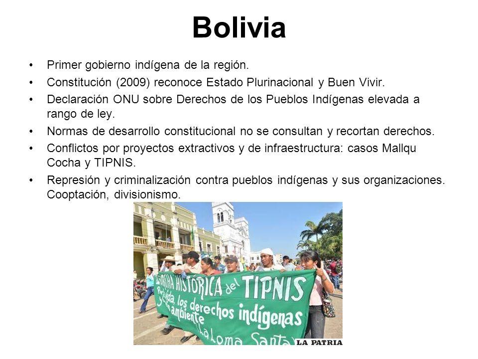Bolivia Primer gobierno indígena de la región. Constitución (2009) reconoce Estado Plurinacional y Buen Vivir. Declaración ONU sobre Derechos de los P