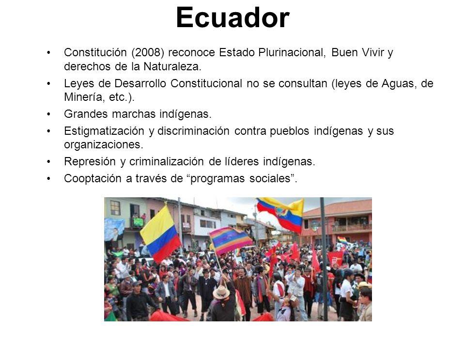 Ecuador Constitución (2008) reconoce Estado Plurinacional, Buen Vivir y derechos de la Naturaleza. Leyes de Desarrollo Constitucional no se consultan